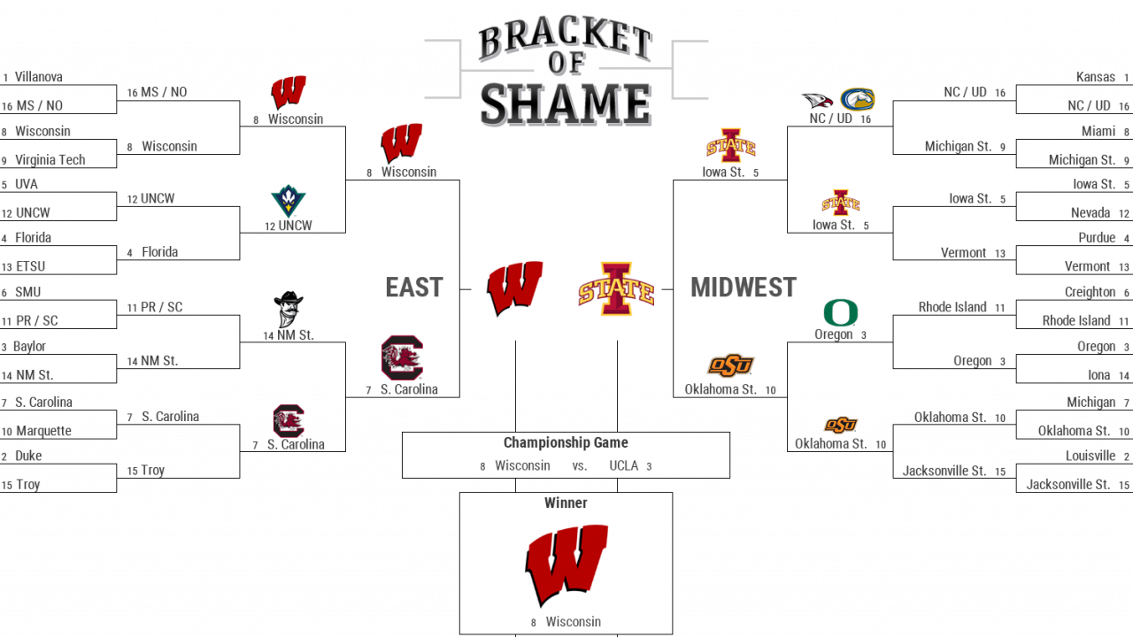 Follow the real March Madness with ADF 'Bracket of Shame'