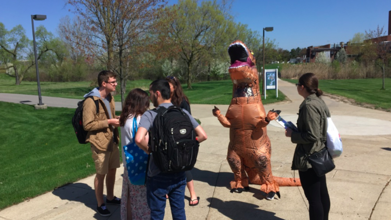 Michigan college lifts speech ban used to muzzle T-Rex-clad student