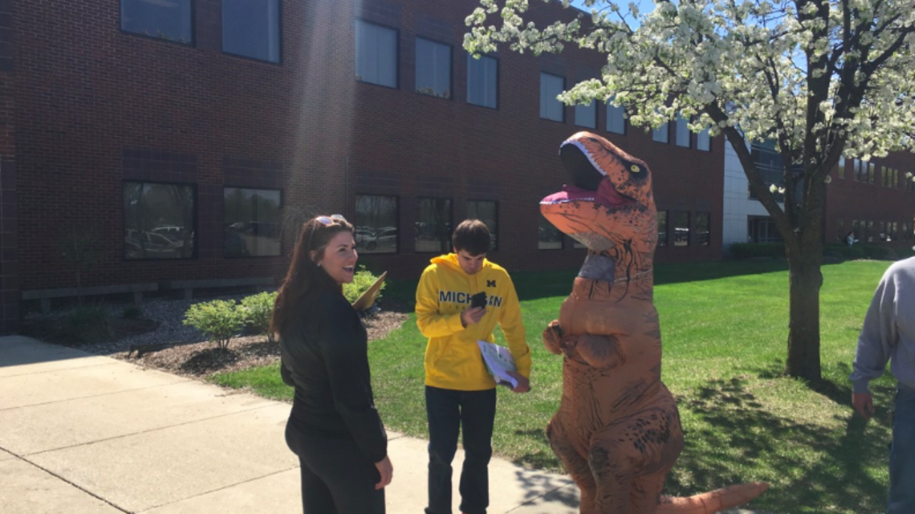 Victory for Free Speech at Michigan College that Muzzled T-Rex-clad Student's Speech